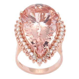 Cocktail Ring with 23.79ct TW Diamonds and Morganite in 14K Rose Gold