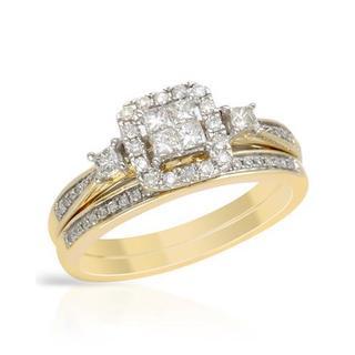 Yellow Gold 1/2ct TDW Princess-cut Diamond Bridal Set