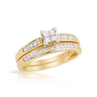 10k Yellow Gold 1/2ct TDW Princess-cut Diamond Bridal Set (H-I, SI1-SI3)