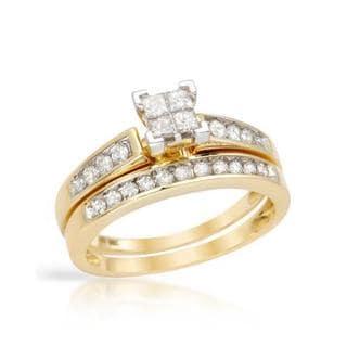 10k Yellow Gold 1/2ct TDW Princess Diamond Bridal Set (G-H, I2)