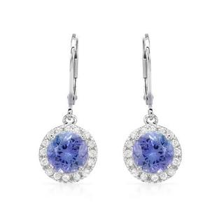 Celine F Earrings with 4ct TW Diamonds and Tanzanites Crafted in 14K White Gold