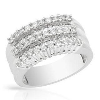 Channel Ring with 1.00ct TW Genuine Diamonds in White Gold