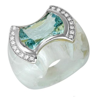 Feludei! Ring with 89.6ct TW FG/VS Diamonds and Aquamarine of 18K Gold
