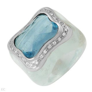 Feludei! Ring with 107.20 ct TW FG/VS Diamonds and Aquamarine of 18K Gold