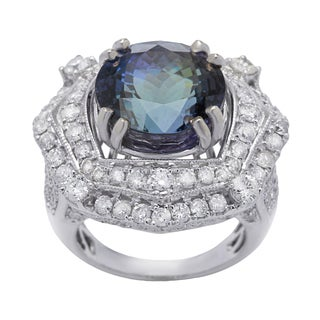 Ring with 17.38ct TW Genuine Diamonds and Tanzanite in 14K White Gold