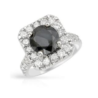 14k White Gold 3.84ct TDW Black Diamond Engagement Ring