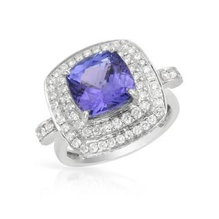 Ring with 6.42ct TW of Diamonds and Tanzanite in 14K White Gold