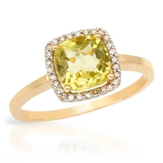 Ring with 1.6ct TW Diamonds and Quartz of 14K Yellow Gold