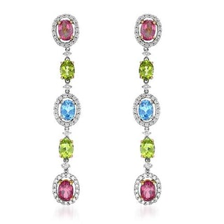 Earrings with 10.6ct TW Diamonds, Peridots, Topazes 14K Two-tone Gold