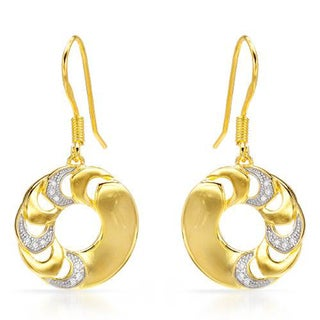 14K Gold-plated Silver and CZ Embellished Dangling Disc Earrings