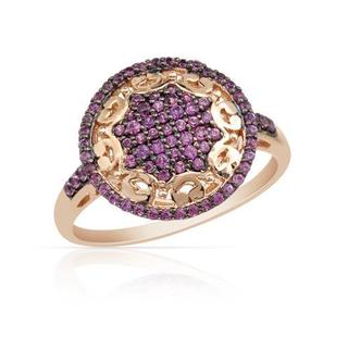 Ring with 0.59ct TW Sapphires of 14K/925 Gold-plated Silver