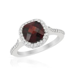 Ring with 2.52ct TW Diamonds and Garnet in 14K White Gold