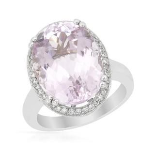 Cocktail Ring with 11.82ct TW Diamonds and Kunzite in 14K White Gold