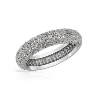 Sterling Silver Micro Pave set 1 1/6ct TDW Diamond Wedding Band