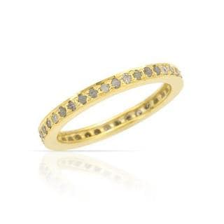 Gold-plated Silver Diamond Wedding Band