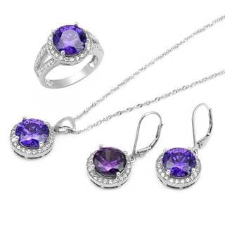 Jewelry set - Earrings with 29.8ct TW Cubic Zirconia in .925 Sterling Silver
