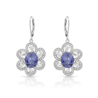 Earrings with Cubic Zirconia/ Created Tanzanites .925 Sterling Silver