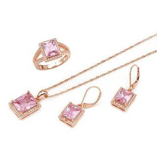 Jewelry set - Earrings with 20.36ct TW Cubic Zirconia in 14K/925 Gold-plated Silver