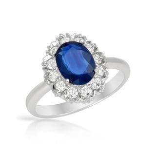 FORELI Ring with 1.85ct TW Genuine Diamonds and Sapphire in 14K White Gold