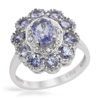 Ring with 1.77ct TW Diamonds, Tanzanites in .925 Sterling Silver