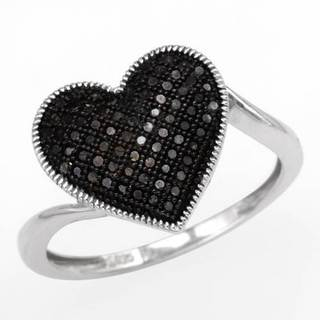 Heart Ring with Diamonds in .925 Sterling Silver