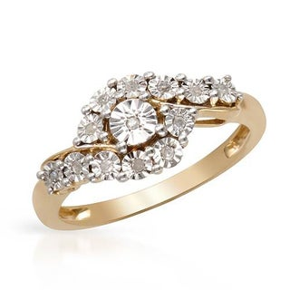 14k Gold-plated .925 Silver Diamond Engagement Ring
