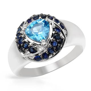 Ring with 3.06ct TW Sapphires and Topaz in .925 Sterling Silver