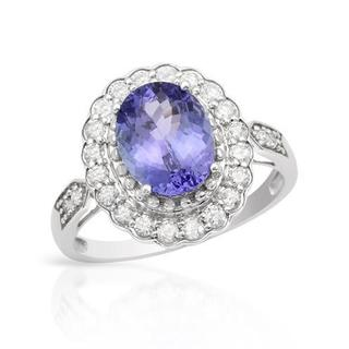 Celine F Ring with 2 3/4ct TW Diamonds and Tanzanite in 14K White Gold