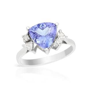 Celine F 14k White Gold 2.55ct TW Diamonds and Tanzanite Ring (Size 7)