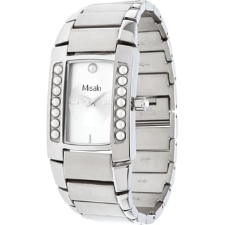 Misaki Women's Silver Stainless Steel Watch with Pearls