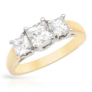 14k Two-tone Gold 1ct TDW Three-stone Princess-cut Diamond Engagement Ring