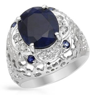 Cocktail Ring with 6ct TW Diamonds, Sapphires 14K White Gold