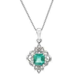 Necklace with 0.73ct TW Diamonds and Emerald 900 Platinum and 850 Platinum