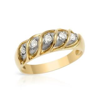 Ring with 0.15 ct TW Diamonds in 18K Yellow Gold and 900 Platinum