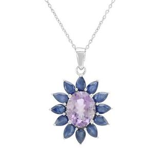 Necklace with 6.48ct TW Genuine Amethyst and Sapphires in 925 Sterling Silver