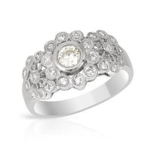 Platinum 1/2ct TDW Diamond Flower Look Engagement Ring