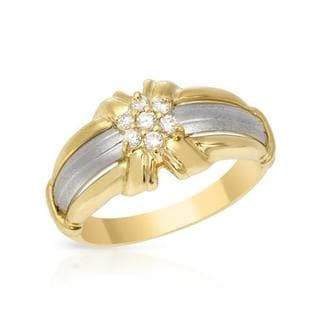 Ring with 0.12 ct TW Diamonds of 18K Yellow Gold and 900 Platinum