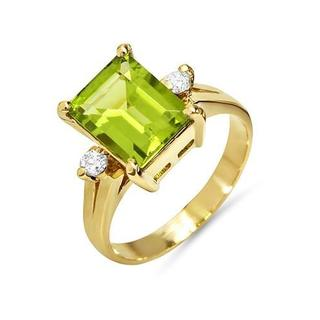 FORELI Ring with 2.60ct TW Genuine Diamonds and Peridot in 14K Yellow Gold