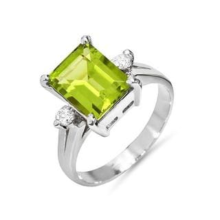FORELI Ring with 2.60ct TW Genuine Diamonds and Peridot in 14K White Gold