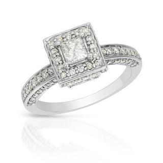 14k White Gold 1ct TDW Princess Halo Diamond Engagement Ring (H-I, I1-I2)