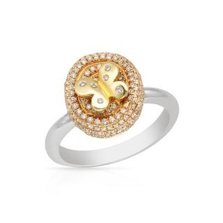 Ring with 0.6ct TW Diamonds in 14K Three-tone Gold