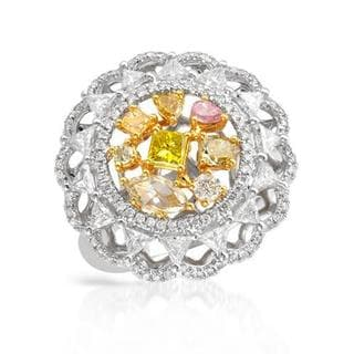 Ring with 1.82ct TW Genuine Natural Fancy Yellow, Natural Fancy Pink, Natural Fancy Yellow Diamonds