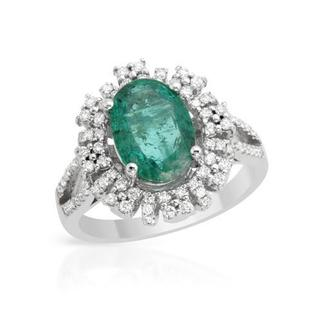 Ring with 3.03ct TW Diamonds and Emerald in 14K White Gold