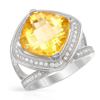 Cocktail Ring with 7.84ct TW Citrine and Cubic Zirconia of .925 Sterling Silver