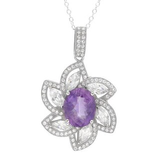 Necklace with 9.61ct TW Amethyst and Cubic Zirconia in .925 Sterling Silver