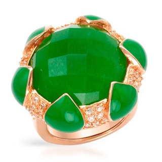 P&P Silver by Giuseppe Pisano Cocktail Ring with 2.1ct TW Cubic Zirconia and Jade of Green Enamel a