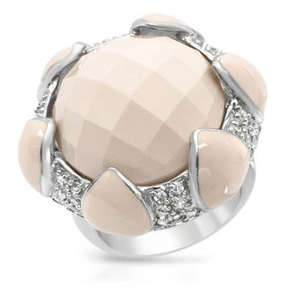 P&P Silver By Giuseppe Pisano Italy Cocktail Ring with Cubic Zirconia/ Simulated Gems in Beige Enam