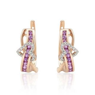 Vida Heart Earrings with 0.65ct TW Diamonds and Sapphires in 14K Rose Gold