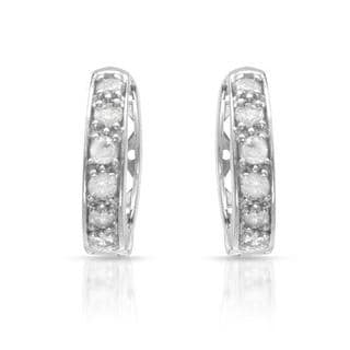 Hoops Earrings with Diamonds in White Gold