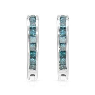 Earrings with 0 1/2ct TW Princess-cut Diamonds in White Gold